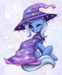 Size: 1723x2100 | Tagged: safe, artist:avrameow, trixie, unicorn, cape, clothes, cute, diatrixes, female, hat, one eye closed, solo, trixie's cape, trixie's hat, wink