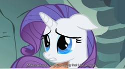 Size: 846x471 | Tagged: safe, screencap, rarity, pony, unicorn, a dog and pony show, cave, crying, floppy ears, sad, solo
