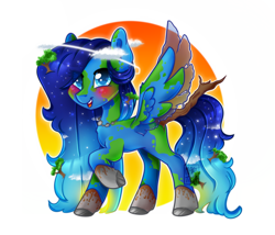 Size: 1198x1024   Tagged: safe, artist:meqiopeach, oc, oc only, oc:terra natura, earth pony, pegasus, pony, art, blushing, cloud, cute, dirt, drawing, earth, fanart, female, fluffy mane, hair over one eye, halo, jewelry, mare, markings, multicolored hair, necklace, open mouth, planet, raised hoof, raised leg, raised tail, rock, simple background, simple shading, solo, starry mane, sun, tail, tree, tree branch, water