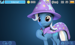 Size: 400x239 | Tagged: safe, trixie, 3d, 3ds, custom 3ds theme, nintendo, source filmmaker