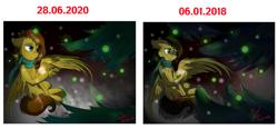 Size: 2100x977 | Tagged: safe, artist:yuris, oc, pegasus, pony, clothes, pine tree, redraw, scarf, solo, tree, winter, ос: yuris