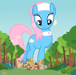 Size: 1280x1262 | Tagged: safe, lotus blossom, earth pony, pony, female, giant pony, giant/macro earth pony, giantess, highrise ponies, houses, macro, mare, ponyville, spa pony, tree