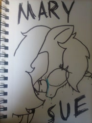 Size: 1200x1600 | Tagged: safe, artist:professorventurer, oc, oc only, oc:tetris effect, unicorn, anxiety, clothes, crying, depression, dripping, eye clipping through hair, female, mary sue, melting, scribble letters, sharpie, shrunken pupils, solo, tetris, traditional art, vent art