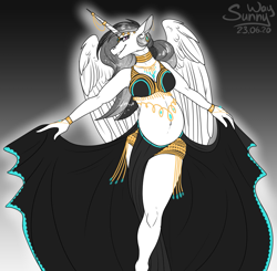Size: 1019x1000 | Tagged: source needed, useless source url, safe, artist:sunny way, princess celestia, alicorn, anthro, belly, belly dance, belly dancer, big belly, black and white, clothes, dress, female, grayscale, horn, mare, monochrome, patreon, patreon reward, preglestia, pregnant, sketch, smiling, wings