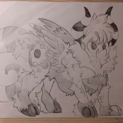 Size: 1080x1080   Tagged: safe, artist:c_owokie, oc, oc only, original species, cloven hooves, fluffy, grayscale, horn, monochrome, solo, traditional art, wings