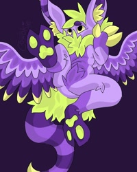 Size: 800x1000   Tagged: safe, artist:c_owokie, oc, oc only, original species, cloven hooves, fluffy, grayscale, monochrome, purple background, simple background, solo, wings
