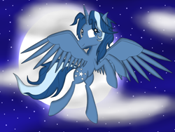 Size: 1600x1200   Tagged: safe, artist:riky9797, oc, oc:starbright, cloud, flying, moon, night, solo