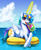 Size: 1200x1460 | Tagged: safe, artist:johnjoseco, princess celestia, alicorn, pony, blushing, cloud, cute, cutelestia, drink, drinking, female, floaty, glowing horn, happy, hooves in the water, horn, inflatable, looking at you, magic, mare, open mouth, pool toy, solo, summer, sunglasses, telekinesis, water, wet mane