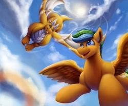 Size: 1000x826 | Tagged: safe, artist:vittorionobile, oc, dragon, pegasus, pony, flying, skies