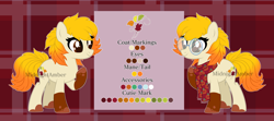 Size: 7499x3320 | Tagged: safe, artist:midnightamber, oc, oc:autumn breeze, earth pony, pony, base used, clothes, glasses, gradient mane, gradient tail, leaf mane, leaf tail, leaves, plaid background, reference sheet, scarf, simple background, solo