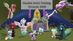Size: 1920x1080 | Tagged: safe, artist:red4567, cozy glow, ocellus, princess flurry heart, queen chrysalis, silverstream, spike, starlight glimmer, trixie, oc, oc:fausticorn, alicorn, dog, 3d, alternate hairstyle, animal crossing, animal crossing: new horizons, atg 2020, avatar the last airbender, babysitter trixie, clock, clothes, comforting, cookie, dogified, exercise ball, facehoof, flick, food, hoodie, long glimmer, long pony, mommy chrissy, newbie artist training grounds, pain star, source filmmaker, species swap, spikezilla, test, trixie's wagon, twilight barkle