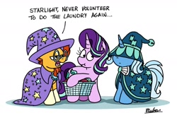 Size: 1280x855 | Tagged: safe, artist:bobthedalek, starlight glimmer, sunburst, trixie, pony, unicorn, cape, clothes, clothes swap, crossdressing, female, hat, hat over eyes, laundry, laundry basket, male, mare, robe, scrunchy face, stallion, sunburst is not amused, sunburst's hat, sunburst's robe, trixie's cape, trixie's hat, wizard hat