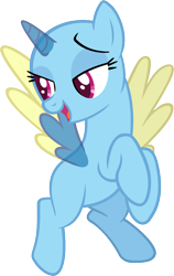 Size: 964x1527   Tagged: safe, artist:pegasski, oc, oc only, alicorn, pony, no second prances, alicorn oc, bald, base, bedroom eyes, eyelashes, flying, horn, looking down, open mouth, rearing, simple background, smiling, solo, transparent background, two toned wings, wings