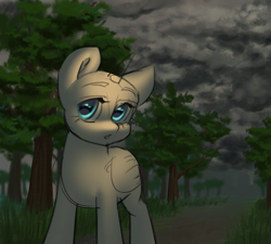Size: 2222x2000   Tagged: safe, artist:klooda, pony, advertisement, cloud, commission, detailed, detailed background, female, looking at you, mare, open mouth, solo, standing, stroll, tree, your character here