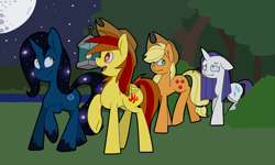 Size: 1000x600 | Tagged: safe, artist:koportable, applejack, rarity, oc, earth pony, pony, unicorn, applejack's hat, commission, cowboy hat, dirty, ethereal mane, eye clipping through hair, female, floppy ears, forest, full moon, hat, lake, lantern, levitation, magic, mare, messy mane, moon, night, open mouth, raised hoof, smiling, starry mane, stars, telekinesis, twig, walking, wavy mouth