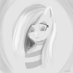 Size: 2000x2000 | Tagged: safe, artist:lunati, oc, anthro, pony, clothes, eyelashes, looking down, sad, sweater