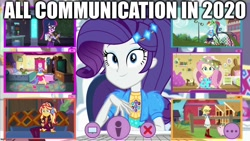 Size: 1280x720 | Tagged: safe, edit, edited screencap, screencap, applejack, fluttershy, pinkie pie, rainbow dash, rarity, sci-twi, sunset shimmer, twilight sparkle, equestria girls, equestria girls series, festival looks, spoiler:eqg series (season 2), 2020, caption, coronavirus, covid-19, humane five, humane seven, humane six, image macro, skype, text, zoom