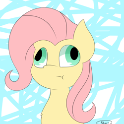 Size: 2000x2000 | Tagged: safe, artist:fabián art, fluttershy, pegasus, pony, :t, abstract background, bust, derp, female, mare, signature, solo