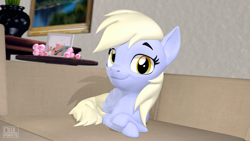 Size: 3840x2160 | Tagged: safe, artist:owlpirate, derpy hooves, pony, 3d, couch, crossed legs, doge, looking at you, meme, ponified meme