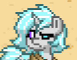 Size: 308x243 | Tagged: safe, screencap, oc, oc:snowy resolution, oc:winter resolution, pony, unicorn, pony town, black sclera, reaction image, split personality, unamused