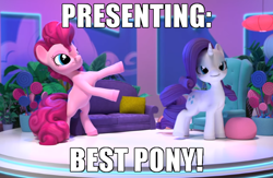 Size: 650x425 | Tagged: safe, edit, edited screencap, screencap, pinkie pie, rarity, hello pinkie pie, best pony, caption, couch, image macro, text, truth
