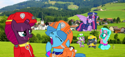 Size: 2340x1080 | Tagged: safe, artist:徐詩珮, fizzlepop berrytwist, glitter drops, grubber, spike, spring rain, tempest shadow, twilight sparkle, alicorn, unicorn, series:sprglitemplight diary, series:sprglitemplight life jacket days, series:springshadowdrops diary, series:springshadowdrops life jacket days, my little pony: the movie, alternate universe, bisexual, broken horn, chase (paw patrol), clothes, cute, female, glitterbetes, glitterlight, glittershadow, horn, lesbian, lifeguard, lifeguard spring rain, marshall (paw patrol), paw patrol, polyamory, rocky (paw patrol), rubble (paw patrol), shipping, skye (paw patrol), sprglitemplight, springbetes, springdrops, springlight, springshadow, springshadowdrops, tempestbetes, tempestlight, twilight sparkle (alicorn), yawn, zuma (paw patrol)