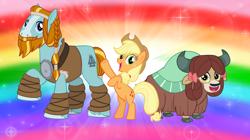 Size: 1280x719   Tagged: safe, artist:andoanimalia, applejack, rockhoof, yona, earth pony, pony, yak, bipedal, cowboy hat, female, hat, hoof in air
