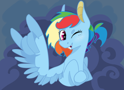 Size: 1280x931 | Tagged: safe, artist:losemeh, rainbow dash, pegasus, alternate design, alternate hairstyle, alternate universe, blue background, broken tooth, cloud, digital art, female, gap teeth, looking at you, mare, one eye closed, ponytail, redesign, rocking, simple background, smiling, smiling at you, solo, two toned wings, wing hands, wings, wink