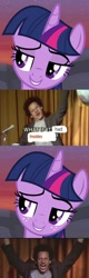 Size: 518x1618 | Tagged: safe, twilight sparkle, alicorn, human, pony, female, freckles, male, mare, meme, microphone, smiling, twilight sparkle (alicorn)
