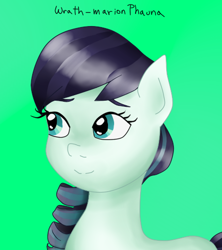 Size: 434x489 | Tagged: safe, artist:wrath-marionphauna, coloratura, eyebrows, rara, simple background, smiling, solo