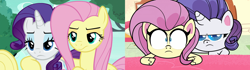 Size: 2560x720   Tagged: safe, screencap, fluttershy, rarity, changeling, pegasus, pony, unicorn, my little pony: pony life, to where and back again, comparison, disguise, disguised changeling