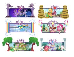 Size: 1600x1226 | Tagged: safe, artist:papyjr13, applejack, fluttershy, pinkie pie, rainbow dash, rarity, twilight sparkle, earth pony, pegasus, unicorn, the best night ever, barrel, candy, candy cane, canterlot, carousel boutique, fluttershy's cottage, food, mane six, rainbow dash's house, simple background, sugarcube corner, sweet apple acres, transparent background, tree