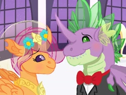 Size: 1280x960 | Tagged: safe, artist:themune, scootaloo, spike, changedling, changeling, changedlingified, changelingified, clothes, dress, female, male, marriage, race swap, scootaling, scootaspike, shipping, species swap, straight, wedding, wedding dress