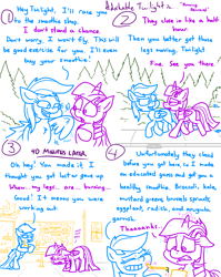 Size: 4779x6013 | Tagged: safe, artist:adorkabletwilightandfriends, rainbow dash, twilight sparkle, alicorn, comic:adorkable twilight and friends, adorkable, adorkable twilight, bipedal, bipedal leaning, comic, cute, disgusted, dork, downtown, exercise, faic, feather, friendship, humor, leaning, outdoors, ponyville, rainbow douche, running, shop, sidewalk, slice of life, smoothie, smug, smugdash, straw, struggle, sweat, twilight sparkle (alicorn), wings, workout