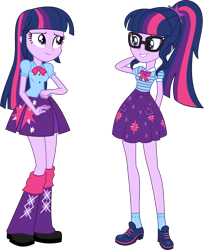 Size: 7773x9548 | Tagged: safe, artist:firesidearmy46231, sci-twi, twilight sparkle, alicorn, equestria girls, arm behind head, clothes, duality, duo, duo female, female, glasses, leg warmers, meta, pleated skirt, self paradox, simple background, skirt, transparent background, twilight sparkle (alicorn), twitter, twolight, vector