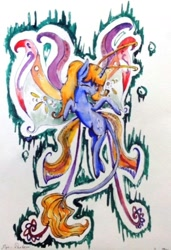 Size: 853x1245 | Tagged: safe, artist:kiwwsplash, oc, oc only, breezie, flying, one eye closed, solo, traditional art, wink