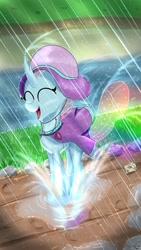 Size: 1280x2276   Tagged: safe, artist:sintakhra, ocellus, changedling, changeling, tumblr:studentsix, cute, cute little fangs, diaocelles, eyes closed, fangs, female, happy, post-it, pronking, puddle, rain, rainbow, raincoat, rainhat, solo, splash, umbrella