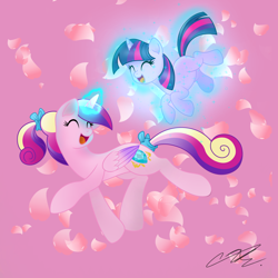Size: 2344x2344 | Tagged: safe, artist:sweetietwily19, princess cadance, twilight sparkle, alicorn, pony, unicorn, cute, cutedance, duo, eyes closed, female, filly, filly twilight sparkle, high res, levitation, magic, mare, open mouth, petals, pink background, simple background, teen princess cadance, telekinesis, twiabetes, unicorn twilight, younger