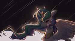 Size: 2000x1100 | Tagged: safe, artist:leafywind, princess celestia, alicorn, pony, bust, chest fluff, female, mare, portrait, shooting star, solo, spread wings, stars, wings