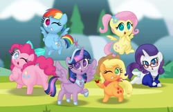 Size: 1280x829 | Tagged: safe, artist:aleximusprime, applejack, fluttershy, pinkie pie, rainbow dash, rarity, twilight sparkle, alicorn, earth pony, pegasus, unicorn, flurry heart's story, aleximusprime is trying to murder us, anklet, apple, balloonbutt, bow, bracelet, butt, chibi, chubbie pie, chubby, chubby dash, clothes, cute, dashabetes, dat butt, death by cuteness, diabetes, diapinkes, ear piercing, earring, fat, food, glasses, grin, hat, hooves on hips, jackabetes, jewelry, large butt, looking at you, looking back, looking back at you, lying down, meme, momma dash, neckerchief, necklace, older, one eye closed, piercing, plot, plump, ponytail, pudgy pie, raribetes, regalia, shirt, shyabetes, smiling, tiara, twiabetes, twilight sparkle (alicorn), wink