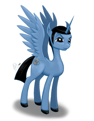 Size: 1935x2500 | Tagged: safe, artist:kchche, oc, oc:spock, alicorn, male, serious, serious face, simple background, solo, spock, stallion, star trek