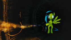 Size: 1920x1080   Tagged: safe, artist:scratch_wub, oc, oc only, oc:here after, alien, facehugger, pegasus, pony, 3d, alien (franchise), bipedal, female, fire, flamethrower, mare, scared, source filmmaker, weapon