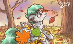 Size: 1080x647 | Tagged: safe, alternate version, artist:dreamyskies, edit, oc, oc:dreamer skies, pegasus, 3ds, autumn, beautiful, cute, forest, happy, leaves, male, ocbetes, peaceful, quick draw, smiling, solo, stallion
