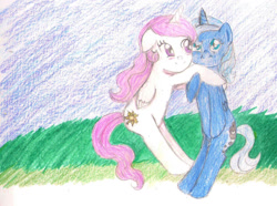 Size: 1331x989 | Tagged: safe, artist:wrath-marionphauna, princess celestia, princess luna, alicorn, bipedal, blushing, colored pencil drawing, female, hug, pink-mane celestia, proud, s1 luna, scan, scanned, siblings, simple background, sisterhood, sisters, smiling, traditional art, young celestia, young luna