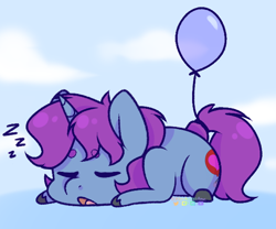 Size: 586x488 | Tagged: safe, artist:wooden-willow, oc, oc only, oc:mobian, pony, unicorn, balloon, cloud, commission, cute, male, onomatopoeia, simple background, sleeping, solo, sound effects, stallion, unshorn fetlocks, ych result, zzz