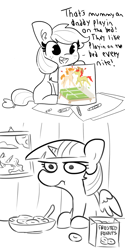 Size: 1024x2052 | Tagged: safe, artist:thehuskylord, artist:tjpones, edit, applejack, bright mac, pear butter, twilight sparkle, alicorn, earth pony, pony, comic:fillies, applebetes, bed, blank flank, breakfast, cereal, crayon, crayon drawing, cute, dialogue, displeased, drawing, eating, female, filly, food, forever alone, freckles, grayscale, heart, implied good clean married sex, implied sex, innocent, innocent innuendo, innuendo, jackabetes, look of disapproval, mare, meme, monochrome, picture, picture frame, ponut, sexually oblivious, spoon, tooth gap, traditional art, twilight is not amused, twilight sparkle (alicorn), unamused, weapons-grade cute, younger, ಠಠ