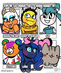 Size: 1024x1223 | Tagged: safe, artist:befishproductions, princess luna, alicorn, anthro, bat, bear, bee, cat, insect, pony, robot, six fanarts, animal crossing, anthro with ponies, berry b. benson, blushing, bow, bust, clothes, crossover, female, hair bow, hoof shoes, jenny wakeman, mare, my life as a teenage robot, pusheen, rouge the bat, sonic the hedgehog (series), the bee movie