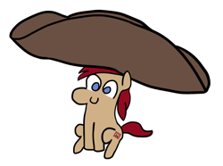 Size: 1266x942 | Tagged: safe, artist:renaar, oc, oc only, oc:libby tea, earth pony, pony, blue eyes, c:, chibi, cute, giant hat, happy, hat, horn, impossibly large hat, multiple horns, red hair, simple background, sitting, smiling, solo, stamp, teabag, tiny, tiny ponies, tricorne, white background