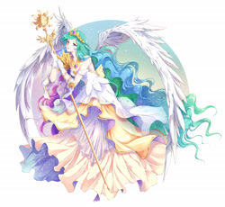 Size: 2720x2500 | Tagged: safe, artist:rurucreations, princess celestia, human, anime, clothes, crown, dress, gloves, humanized, jewelry, long hair, regalia, solo, staff, winged humanization, wings