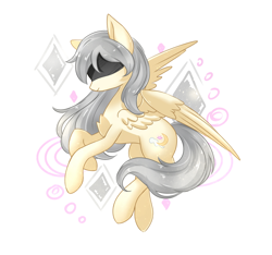 Size: 1600x1499 | Tagged: safe, artist:night lidell, oc, oc:crescent heart, oc:弦月之心, pegasus, pony, blind, blindfold, female, flying, mare, pegasus oc, simple background, solo, wings